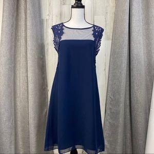 Esley Crochet Trim Navy Dress sz M EUC